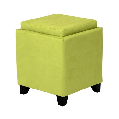 Rainbow Microfiber Storage Ottoman with Tray