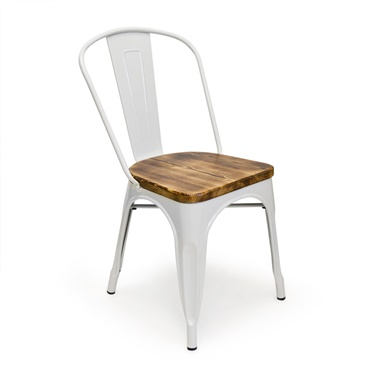 Bastille Cafe Stacking Chair (Weathered Wood Seat)