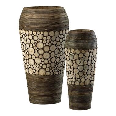 2-Piece Slice Oblong Decorative Urn Set