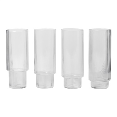 Ripple 4-Piece Long Drink Glasses