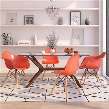 Magna / Molded Plastic Arm & Side Chair Dining Set