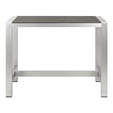 Shore Aluminum Rectangle Outdoor Patio Bar Table
