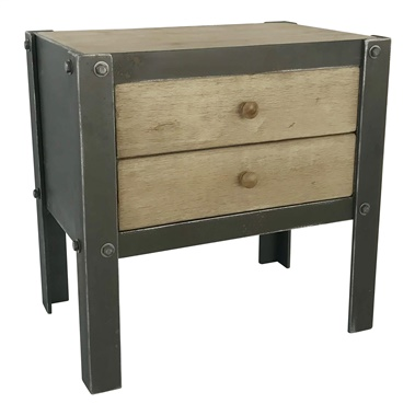 Bolt Side Table with 2 Drawers