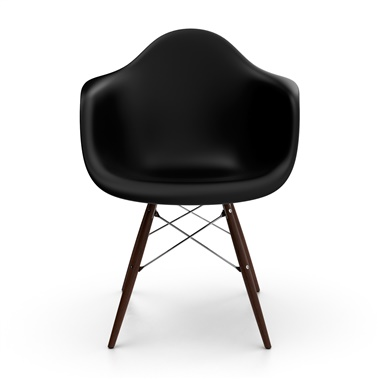 Molded Fiberglass Arm Chair with Wood Legs