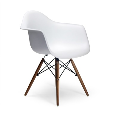 Molded Plastic Armchair with Wood Legs (Set of 2)