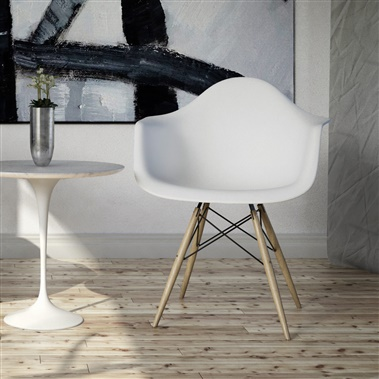 Molded Plastic Armchair with Wood Legs