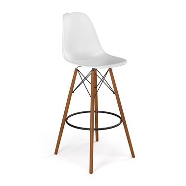 Molded Plastic Bar Stool with Wood Legs (Set of 2)