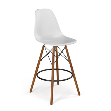 Molded Plastic Counter Stool with Wood Legs