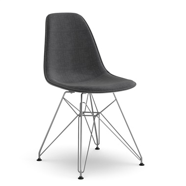 Molded Plastic Eiffel Side Chair Upholstered