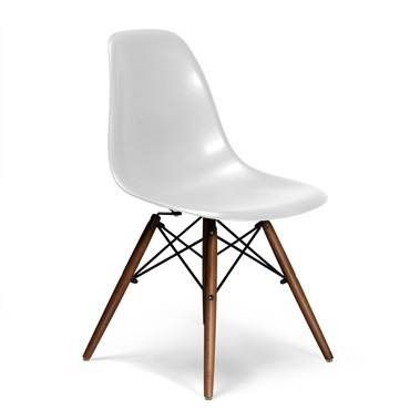 Molded Plastic Side Chair with Wood Legs