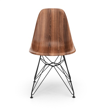 Molded Plastic Side Chair - Printed Walnut