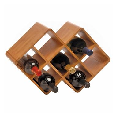 Bamboo 8-Bottle Rack