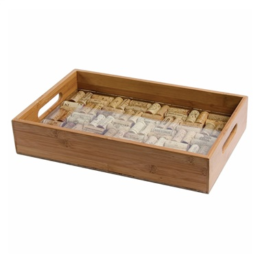 Bamboo Service Tray with Glass