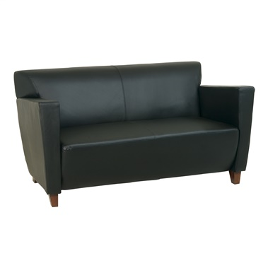 Bonded Leather Loveseat with Cherry Finish Legs