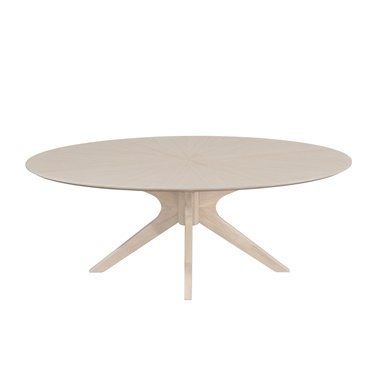 Starburst Whitewash Oval Coffee Table