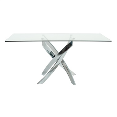 Modrest Pyrite Modern Rectangular Glass Dining Table