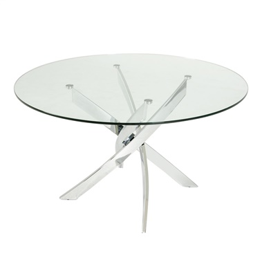 Modrest Pyrite Modern Round Glass Dining Table
