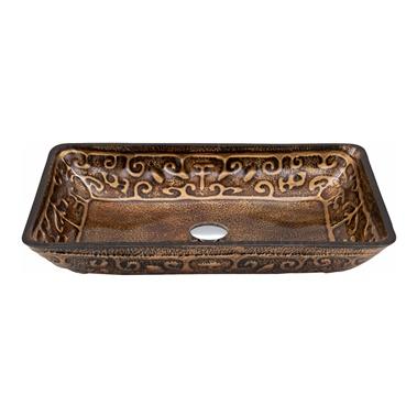 Rectangular Glass Vessel Bathroom Sink - Golden Greek