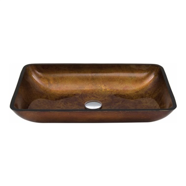 Rectangular Glass Vessel Bathroom Sink - Russet
