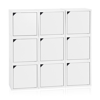 Way Basics Eco Friendly Stackable Connect 9-Cube Storage with Doors