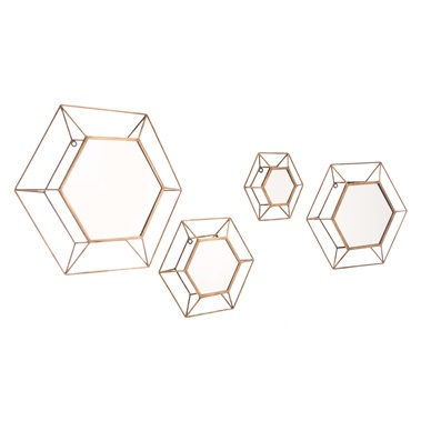 Hexagon Mirror (Set of 4)