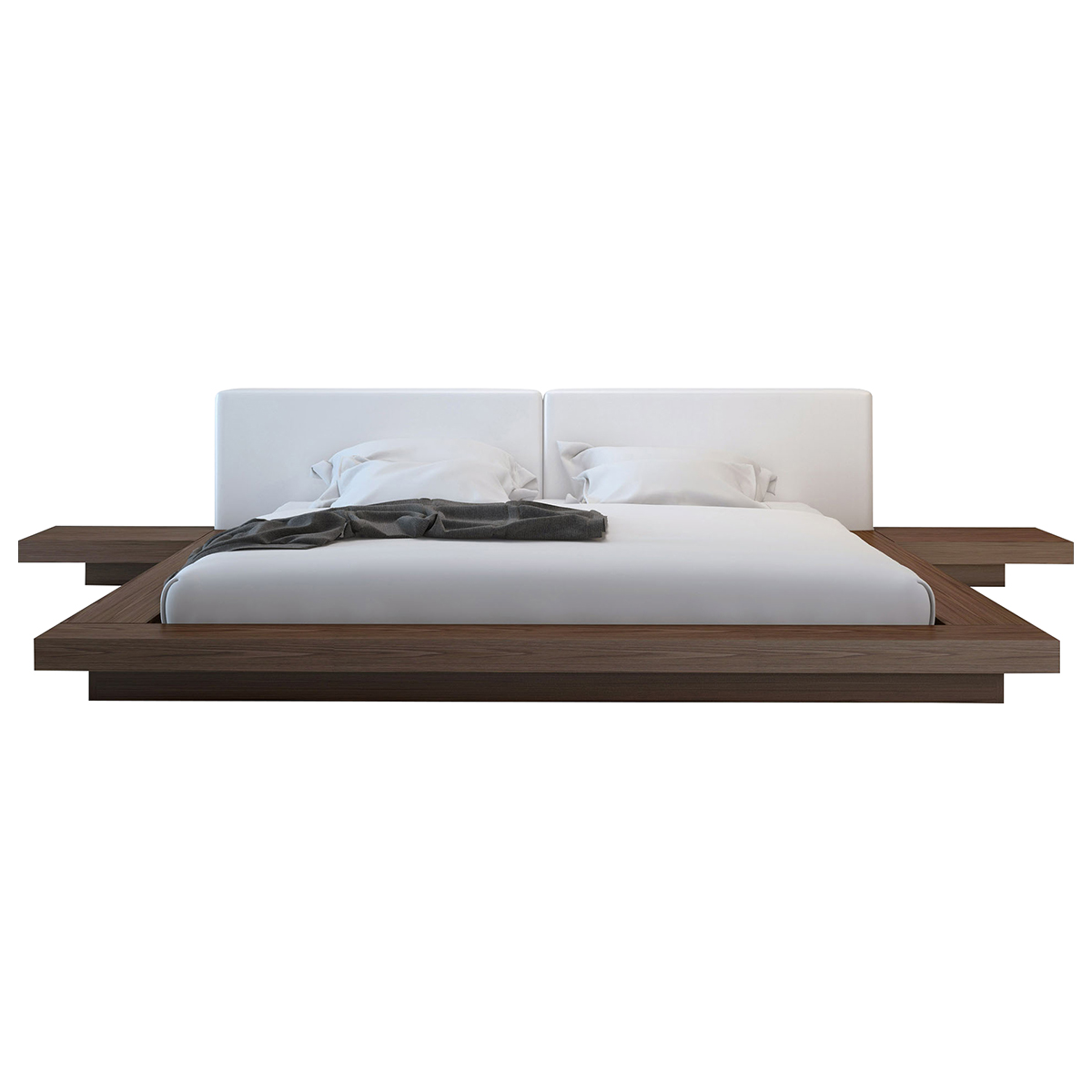 worth bed - cal king  walnut  white leatherette