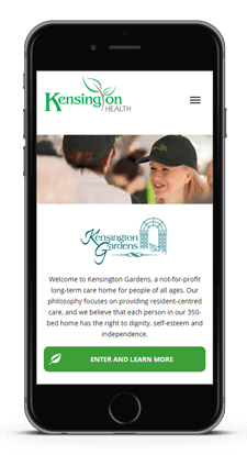 Kensington Healthcare responsive website design phone mobile