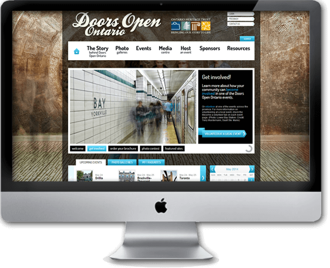 Doors Open Ontario Heritage full custom design & development with CMS