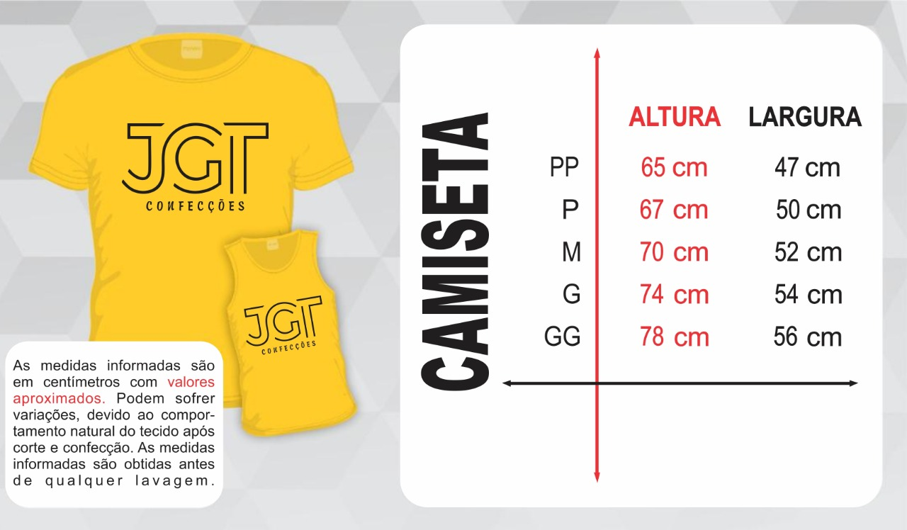 Camisetas - MASCULINO - Tabela