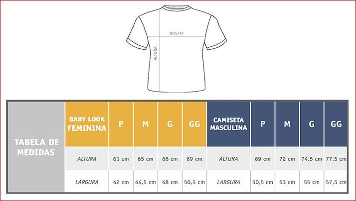 Tabela de Medidas - Camisetas