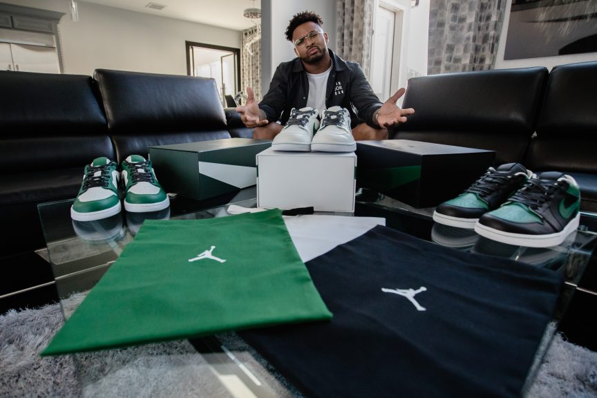 New York Jets Safety Jamal Adams with new Air Jordan 1 low shoes, inspired by the newly unveiled uniforms.