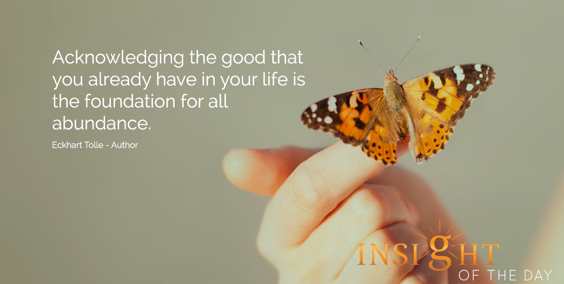 life daily quote: Acknowledging the good that you already have in your life is the foundation for all abundance