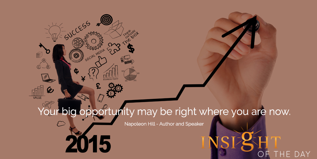 motivational quote: Your big opportunity may be right where you are now. - Napoleon Hill - Author and Speaker