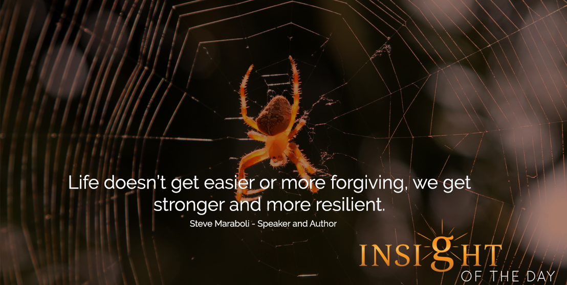 motivational quote: Life doesn't get easier or more forgiving, we get stronger and more resilient. -Steve Maraboli - Speaker and Author