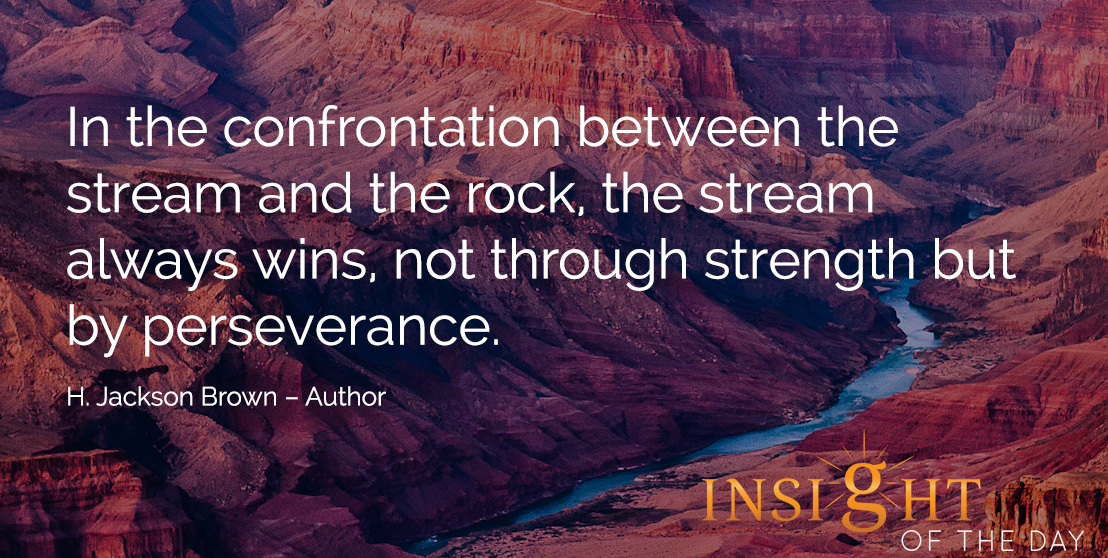 motivational quote: In the confrontation between the stream and the rock, the stream always wins, not through strength but by perseverance. H. Jackson Brown – Author