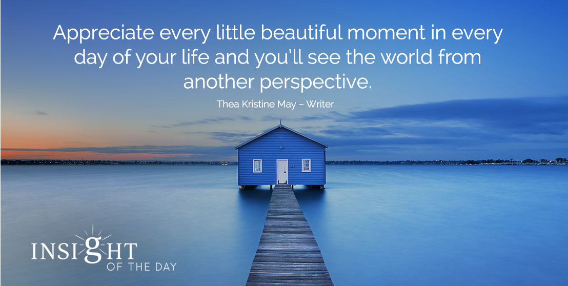 motivational quote: Appreciate every little beautiful moment in every day of your life and you'll see the world from another perspective. - Thea Kristine May – Writer