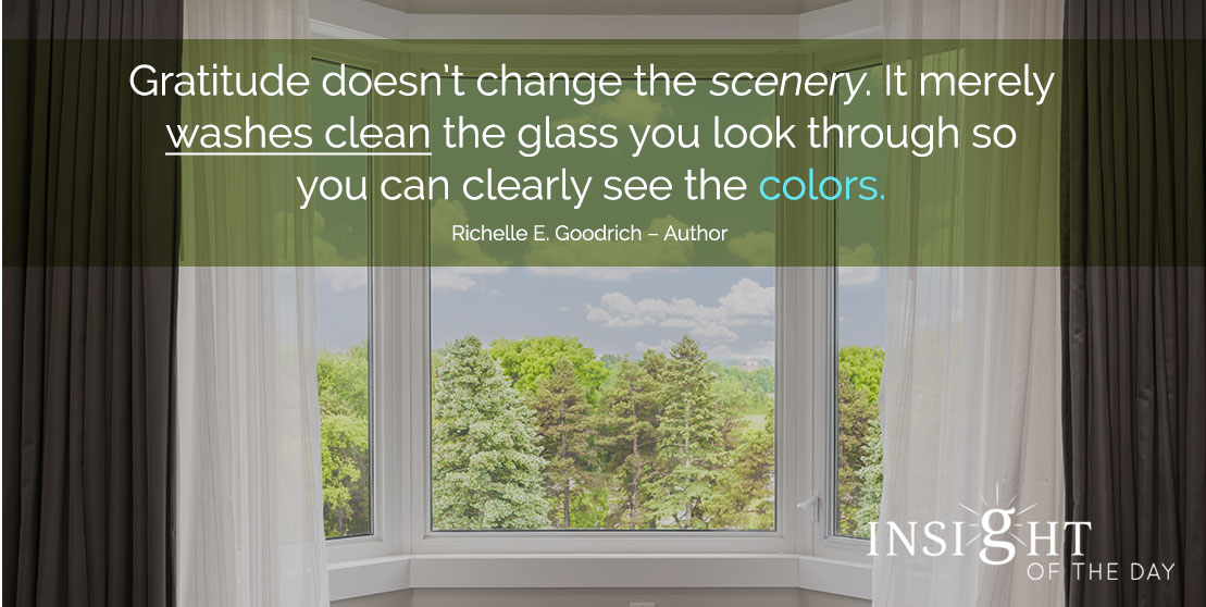 motivational quote: Gratitude doesn't change the scenery. It merely washes clean the glass you look through so you can clearly see the colors. - Richelle E. Goodrich - Author
