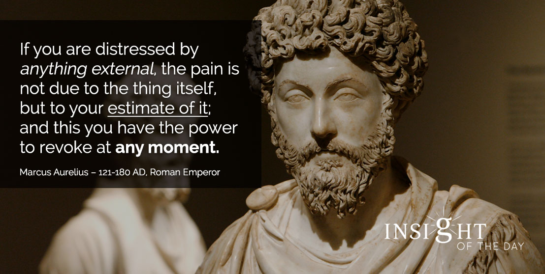 motivational quote: If you are distressed by anything external, the pain is not due to the thing itself, but to your estimate of it; and this you have the power to revoke at any moment. - Marcus Aurelius – 121-180 AD, Roman Emperor