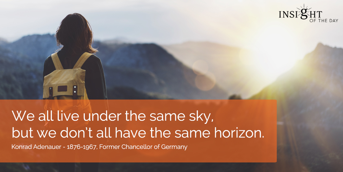 motivational quote: We all live under the same sky, but we don't all have the same horizon. 