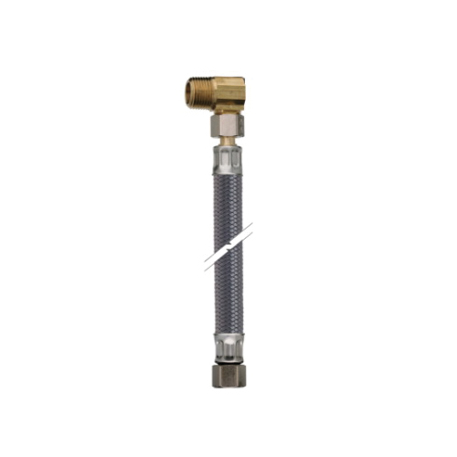Accor® FlowTite® 4ALL® RLP84-3 (EL) High Performance Braided Connector With 3/8 in Compression Nut and 3/8 x 1/2 in MNPT Brass Elbow, 84 in L, PVC, Domestic