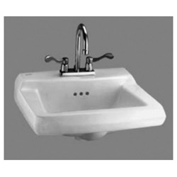 American Standard 0124.131.020 Comrade™ Bathroom Sink, Rectangular, 4 in Faucet Hole Spacing, 20 in W x 18-1/4 in D x 8 in H, Wall Mount, Vitreous China, White, Domestic