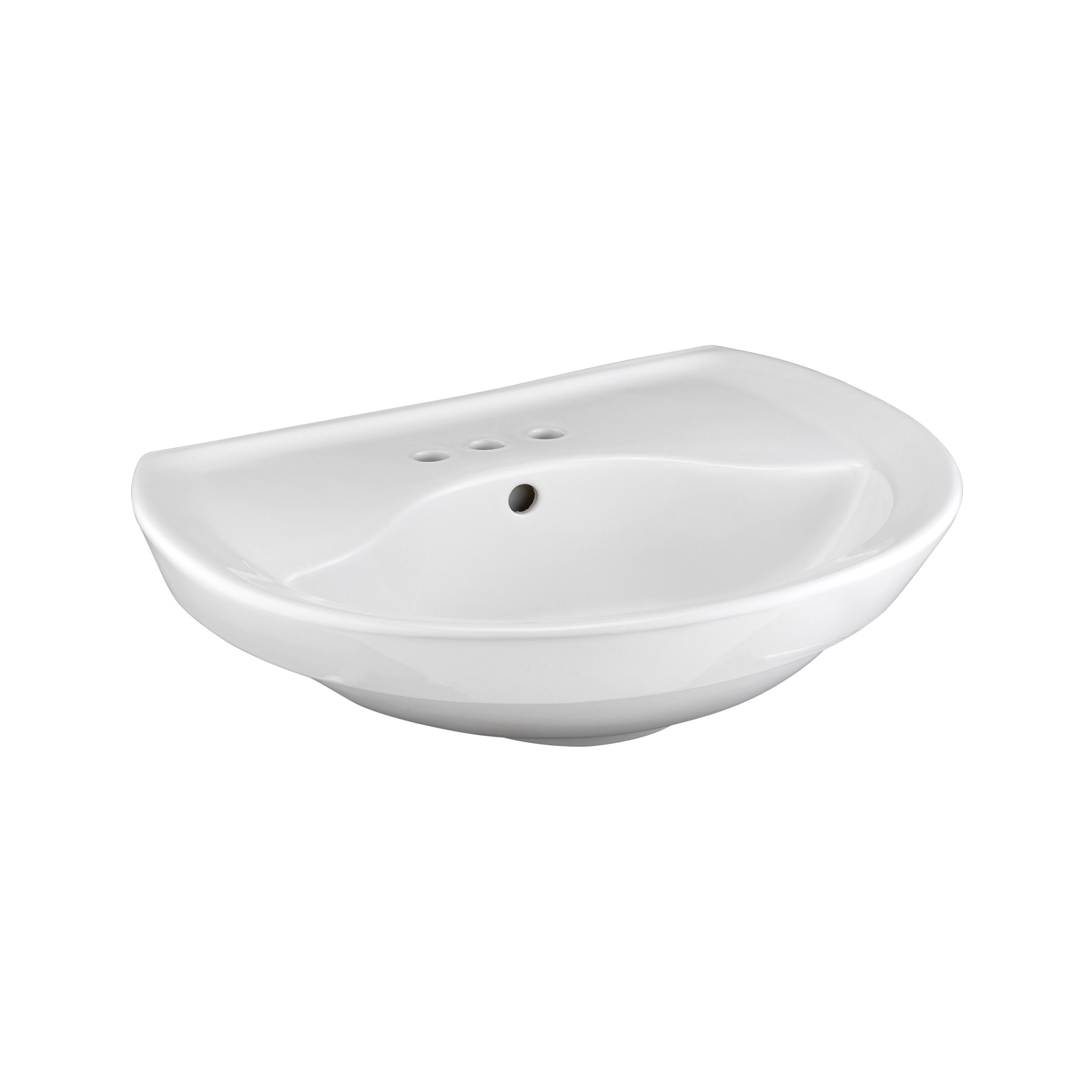 American Standard 0268.004.020 Ravenna™ Pedestal Sink Top, 20 in L x 24-1/4 in W x 8 in H, Round Sink, 4 in Faucet Hole Spacing, Import