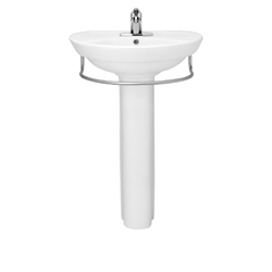 American Standard 0268.400.020 Ravenna™ Bathroom Sink With Rear Overflow, Round, 4 in Faucet Hole Spacing, 24-1/2 in W x 20 in D x 34 in H, Pedestal Mount, Vitreous China, White, Import