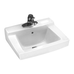 American Standard 0321.026.020 Declyn™ Bathroom Sink With Rear Overflow, Rectangular, 4 in Faucet Hole Spacing, 18-1/2 in W x 17 in D x 8-1/2 in H, Wall Mount, Vitreous China, White, Domestic