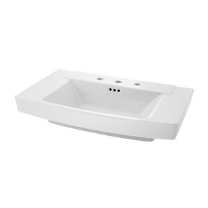 American Standard 0328.008.020 Townsend® Bathroom Sink, Rectangular, 8 in Faucet Hole Spacing, Pedestal Mount, Fine Fireclay, White, Import