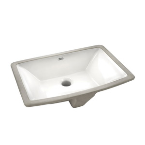 American Standard 0330.000.020 Townsend® Bathroom Sink With Front Overflow, Rectangular, 19-1/2 in W x 13-5/8 in D x 6-1/2 in H, Undercounter Mount, Vitreous China, White, Import