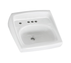 American Standard 0355.056.020 Lucerne™ Bathroom Sink With Front Overflow, D-Shape, 4 in Faucet Hole Spacing, 20-1/2 in W x 18-1/4 in D, Wall Mount, Vitreous China, White, Import