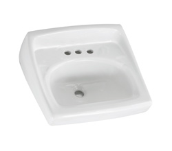 American Standard 0356.015.020 Lucerne™ Lavatory Sink With Front Overflow, D-Shape, 8 in Faucet Hole Spacing, 20-1/2 in W x 18-1/4 in D, Wall-Hung Mount, Vitreous China, White, Domestic