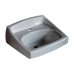 American Standard 0356.421.020 Lucerne™ Lavatory Sink With Front Overflow, D-Shape, 20-1/2 in W x 18-1/4 in D, Wall-Hung Mount, Vitreous China, White, Domestic