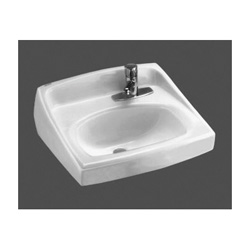 American Standard 0356.439.020 Lucerne™ Lavatory Sink With Front Overflow, D-Shape, 20-1/2 in W x 18-1/4 in D, Wall-Hung Mount, Vitreous China, White, Domestic